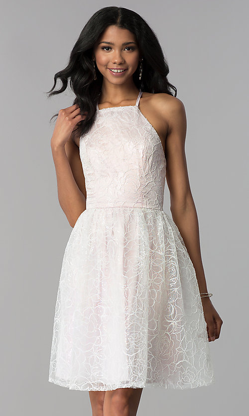 Image of organza embroidered short homecoming dress. Style: LP-27495 Front Image