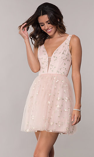 Tulle Short Embroidered Homecoming Dress by PromGirl