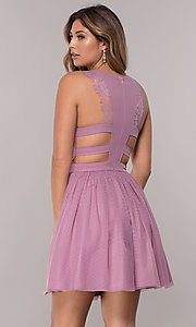 Image of short pleated-neckline homecoming dress by PromGirl. Style: LP-PL-27715 Back Image