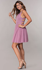 Image of short pleated-neckline homecoming dress by PromGirl. Style: LP-PL-27715 Detail Image 1