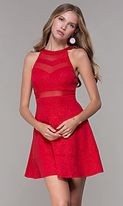 Image of short red glitter-jersey semi-formal party dress. Style: EM-DHX-2589-600 Front Image