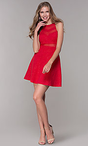 Image of short red glitter-jersey semi-formal party dress. Style: EM-DHX-2589-600 Detail Image 3