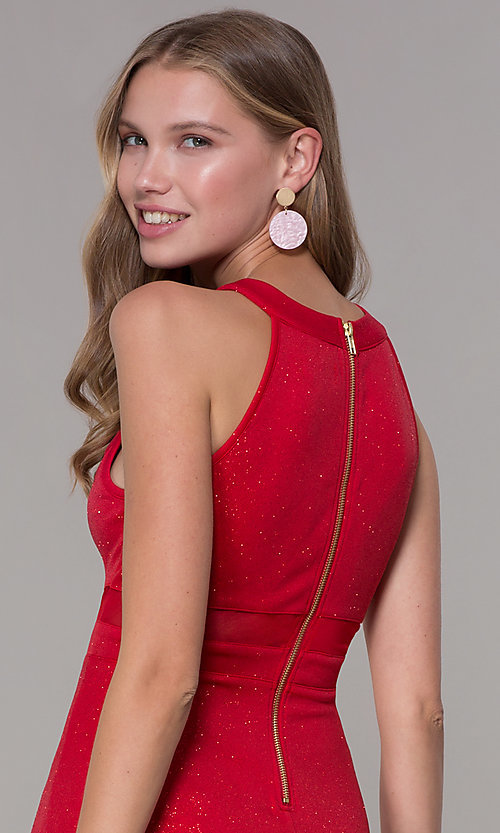 Image of short red glitter-jersey semi-formal party dress. Style: EM-DHX-2589-600 Detail Image 2