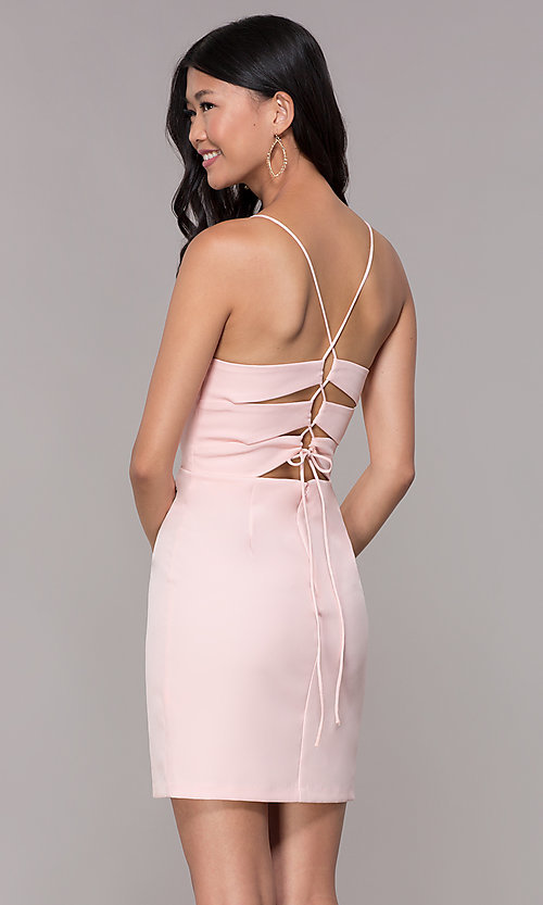 Image of corset-tie-back homecoming short v-neck dress. Style: MT-9365 Front Image
