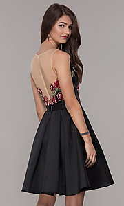 Image of short embroidered-bodice hoco party dress with pockets. Style: CD-1811S Back Image