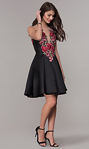 Image of short embroidered-bodice hoco party dress with pockets. Style: CD-1811S Detail Image 2