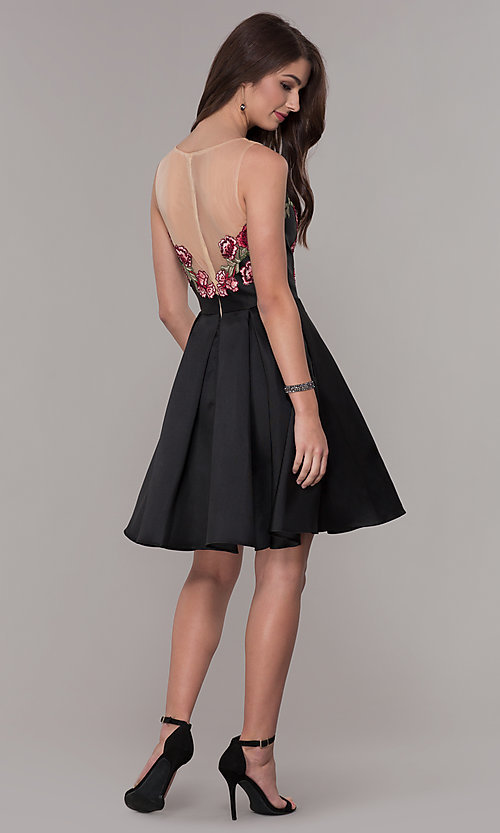 Image of short embroidered-bodice hoco party dress with pockets. Style: CD-1811S Detail Image 3
