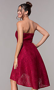 Image of strapless wine red short high-low lace party dress. Style: JU-10931 Back Image