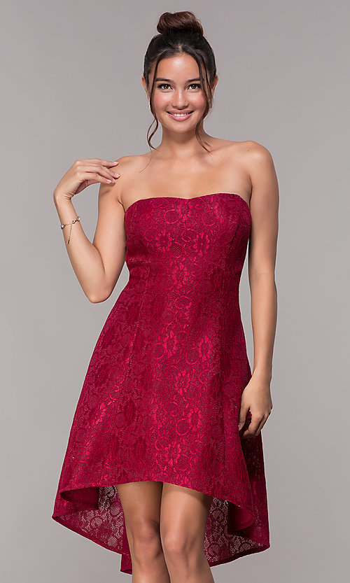 Image of strapless wine red short high-low lace party dress. Style: JU-10931 Front Image