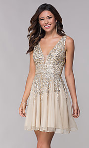 Image of sequined a-line short homecoming dress by Shail K. Style: SK-12182 Detail Image 1