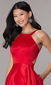 Image of open-back high-neck short red homecoming dress. Style: DJ-A6689 Detail Image 1