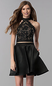 Image of short black two-piece lace-top homecoming dress. Style: DJ-A6974 Front Image