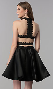 Image of short black two-piece lace-top homecoming dress. Style: DJ-A6974 Back Image