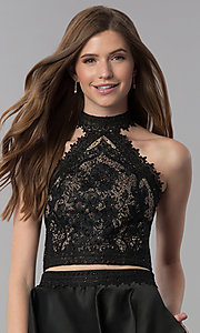 Image of short black two-piece lace-top homecoming dress. Style: DJ-A6974 Detail Image 1