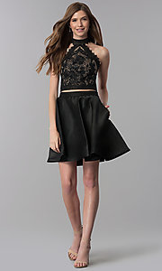 Image of short black two-piece lace-top homecoming dress. Style: DJ-A6974 Detail Image 3