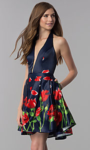 Image of short v-neck halter homecoming dress with print. Style: DJ-3789 Front Image