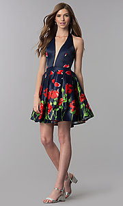 Image of short v-neck halter homecoming dress with print. Style: DJ-3789 Detail Image 3