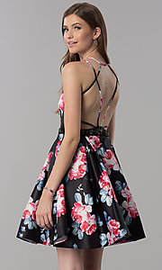 Image of satin floral-print short v-neck homecoming dress. Style: DJ-3804 Front Image