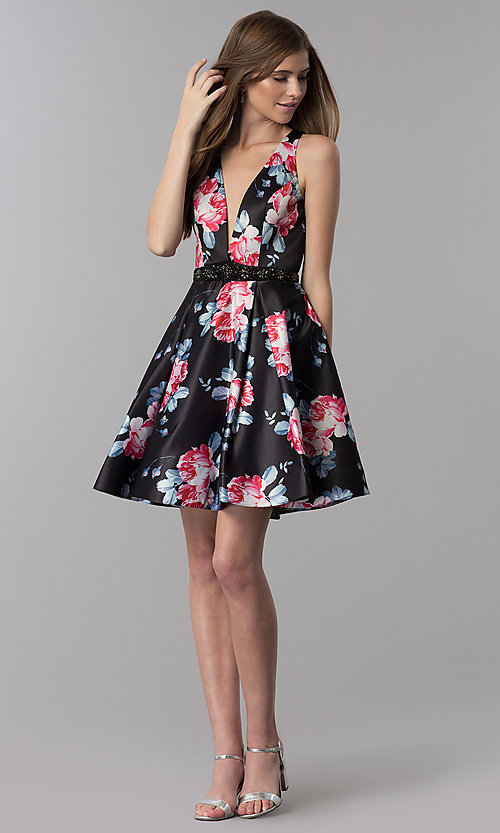 Image of satin floral-print short v-neck homecoming dress. Style: DJ-3804 Detail Image 3