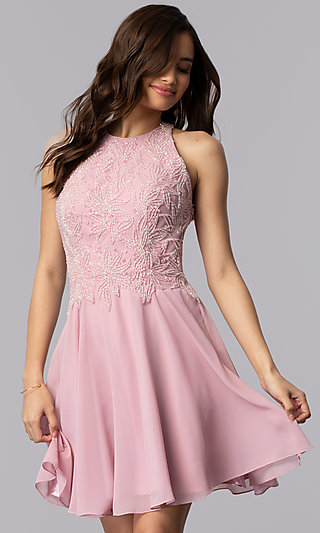 Beaded-Bodice Short Mauve High-Neck Homecoming Dress