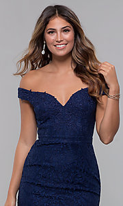 Image of short lace off-shoulder sweetheart homecoming dress. Style: LP-25839 Detail Image 1