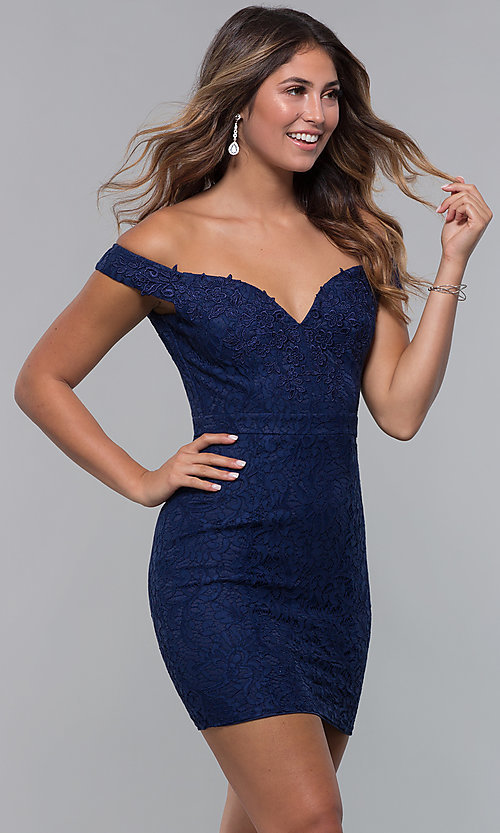 Image of short lace off-shoulder sweetheart homecoming dress. Style: LP-25839 Front Image