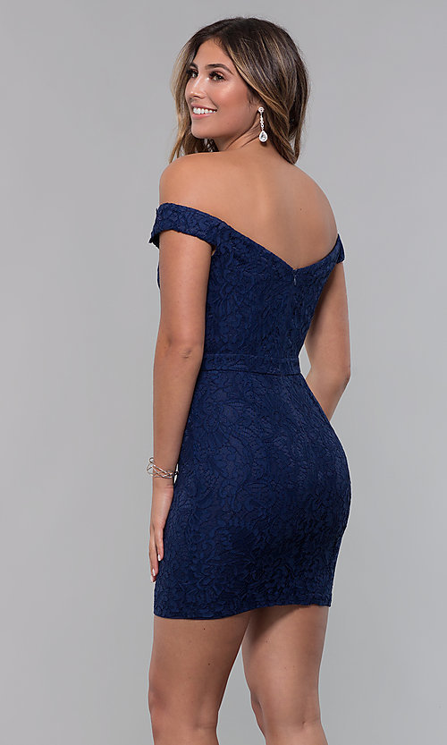 Image of short lace off-shoulder sweetheart homecoming dress. Style: LP-25839 Back Image