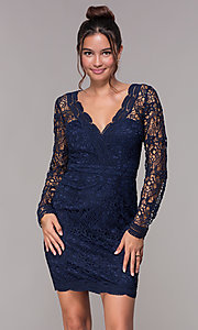 Image of long-sleeve short lace v-neck homecoming dress. Style: LP-23273 Front Image