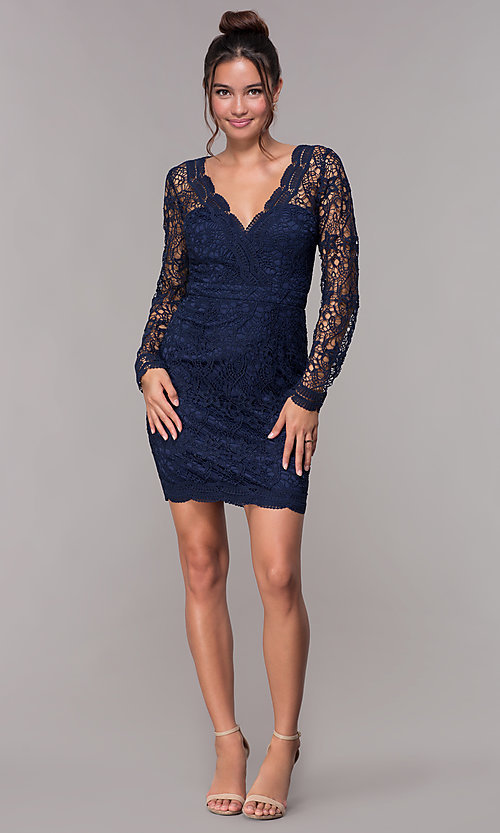 Image of long-sleeve short lace v-neck homecoming dress. Style: LP-23273 Detail Image 3