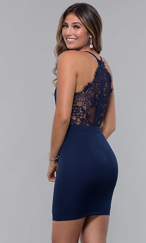 Image of lace-racerback short v-neck homecoming dress. Style: LP-27724 Front Image