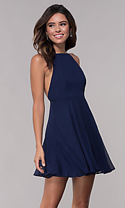 Image of sleeveless homecoming dress with adjustable straps. Style: LP-27723 Front Image