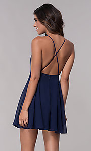 Image of sleeveless homecoming dress with adjustable straps. Style: LP-27723 Back Image