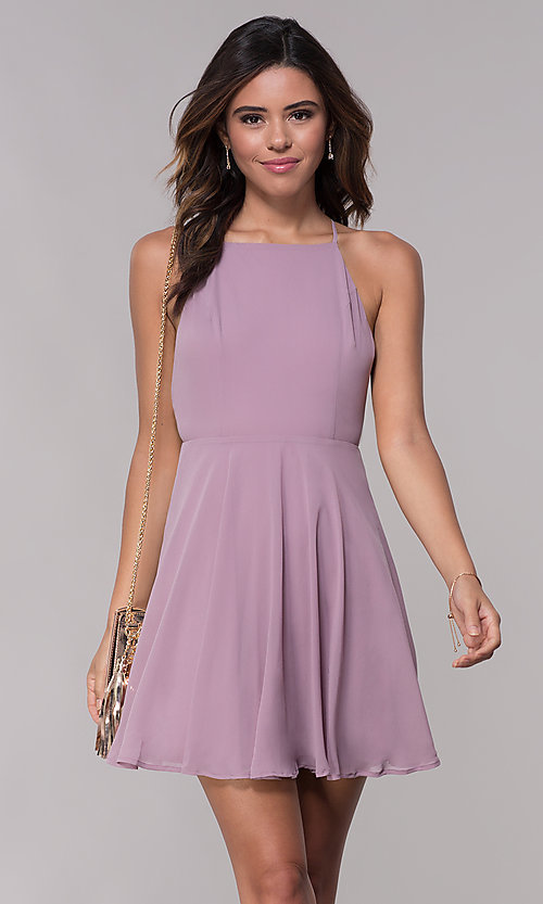 Image of sleeveless homecoming dress with adjustable straps. Style: LP-27723 Detail Image 2