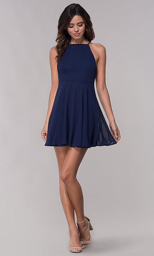 Image of sleeveless homecoming dress with adjustable straps. Style: LP-27723 Detail Image 1