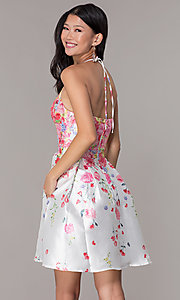 Image of pink floral-print halter hoco party dress by PromGirl. Style: SOI-PL-S17588 Back Image