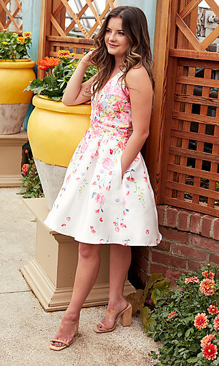 Pink Floral-Print Halter Hoco Party Dress by PromGirl