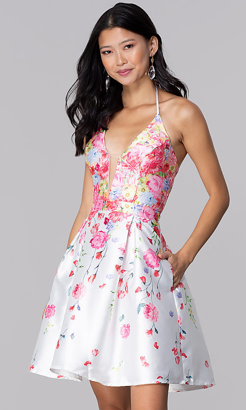 Image of pink floral-print halter hoco party dress by PromGirl. Style: SOI-PL-S17588 Front Image