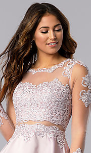 Image of short bracelet-sleeve homecoming dress by PromGirl. Style: DQ-PL-3094 Detail Image 1