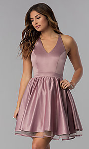 Image of lace-racerback short homecoming dress by PromGirl. Style: DQ-PL-3093 Front Image
