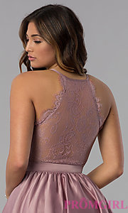 Image of lace-racerback short homecoming dress by PromGirl. Style: DQ-PL-3093 Detail Image 2