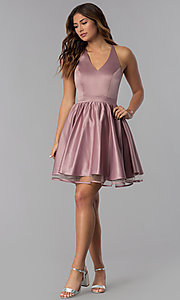 Image of lace-racerback short homecoming dress by PromGirl. Style: DQ-PL-3093 Detail Image 3