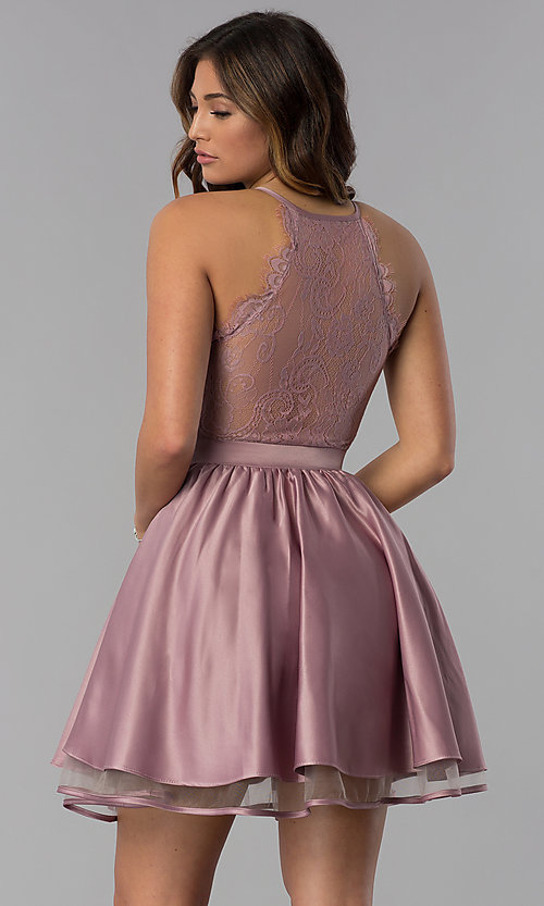 Image of lace-racerback short homecoming dress by PromGirl. Style: DQ-PL-3093 Back Image