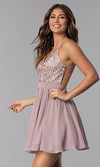 Embroidered-Bodice Short Homecoming Dress by PromGirl