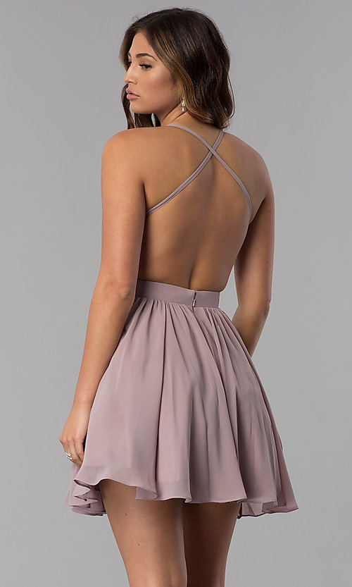 Image of embroidered-bodice short homecoming dress by PromGirl. Style: DQ-PL-3089 Back Image