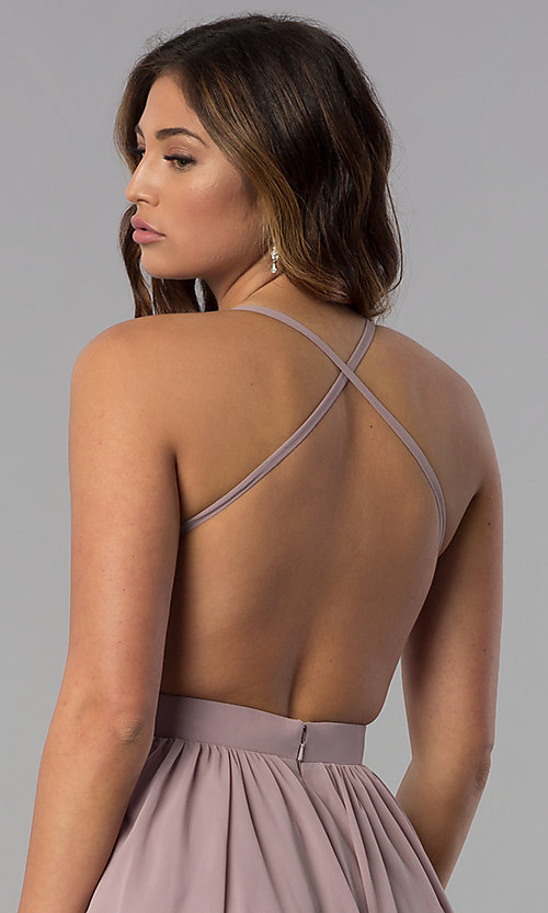Image of embroidered-bodice short homecoming dress by PromGirl. Style: DQ-PL-3089 Detail Image 2