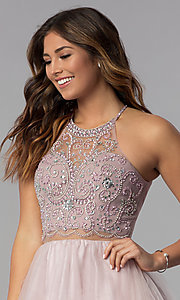 Image of short mock-two-piece hoco dress by PromGirl. Style: DQ-PL-3087 Detail Image 1
