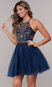 Image of short mock-two-piece hoco dress by PromGirl. Style: DQ-PL-3087 Detail Image 2