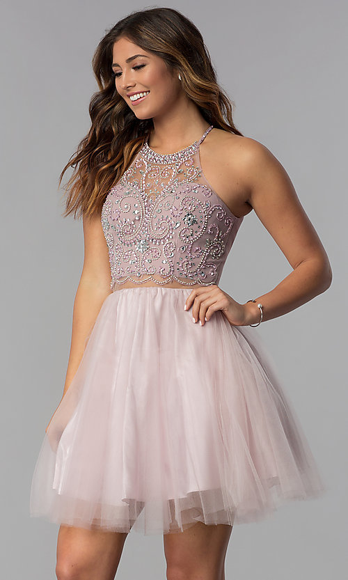 Image of short mock-two-piece hoco dress by PromGirl. Style: DQ-PL-3087 Front Image