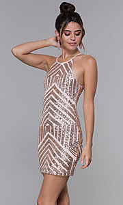 Image of art-deco-sequin short homecoming dress by PromGirl. Style: MCR-PL-1956 Front Image