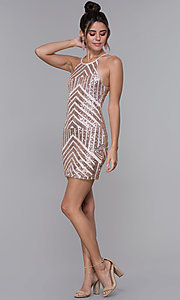 Image of art-deco-sequin short homecoming dress by PromGirl. Style: MCR-PL-1956 Detail Image 3